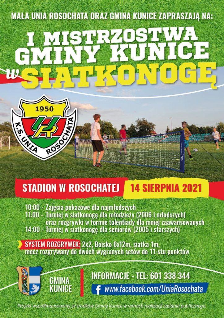 """Plakat wydarzenia """"I mistrzostwa Gminy Kunice w Siatkonodze"""""""